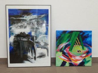 Casablanca, 1987, mixed materials/paper, 87,5x63 cm Jump, 2012, acrylic/canvas, 60x60 cm